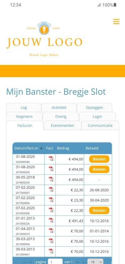 Screenshot Banster mobiel